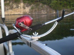 """Pontoon Boat ADJUSTABLE Rod Holder BEST SELLER! #boat   #fishing      Great Gift Idea! Top Seller!      Holds Rods and Reels of Many Designs      ALL Metal - No Cheap Breakable Plastic      Fits 1.25"""" Square Rails - The Most Common Railing      Ideal for Still Fishing"""