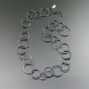 Chased Stainless Steel Chain Link Necklace