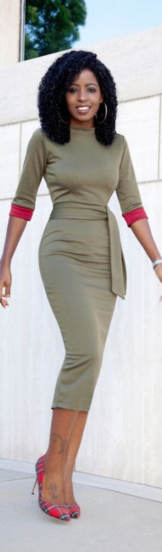 Olive Contrast Sleeve Midi Dress / Fashion By Style Pantry
