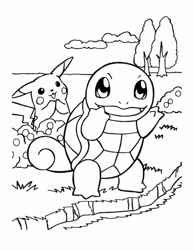 Squirtle And Pikachu From Pokemon Coloring Page Pikachu Coloring Page Pokemon Coloring Pages Cartoon Coloring Pages