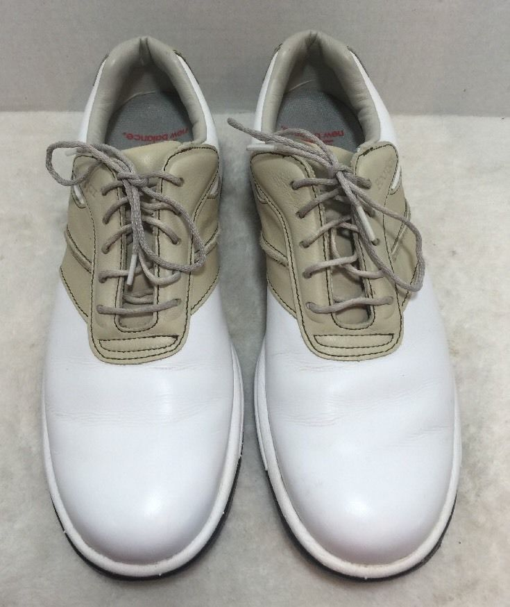Women's FootJoy Contour Series White/Tan Leather Golf Shoes 7 N #FootJoy