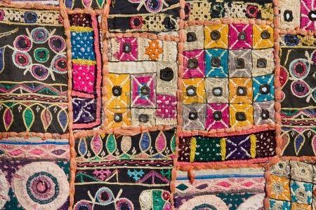 Indiase patchwork tapijt in Rajasthan Azi  Stockfoto