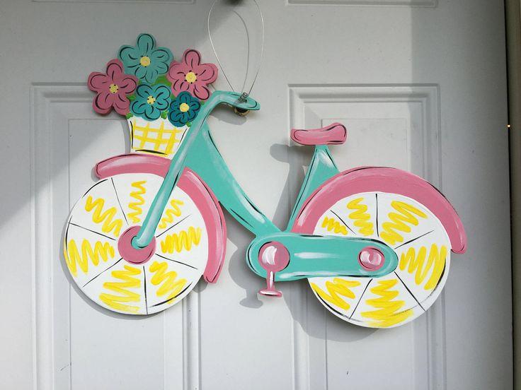 Spring door hanger-Summer door hanger,bicycle door hanger,Spring door hanger,Spring wreath,spring door decor,spring wood door by Furnitureflipalabama on Etsy