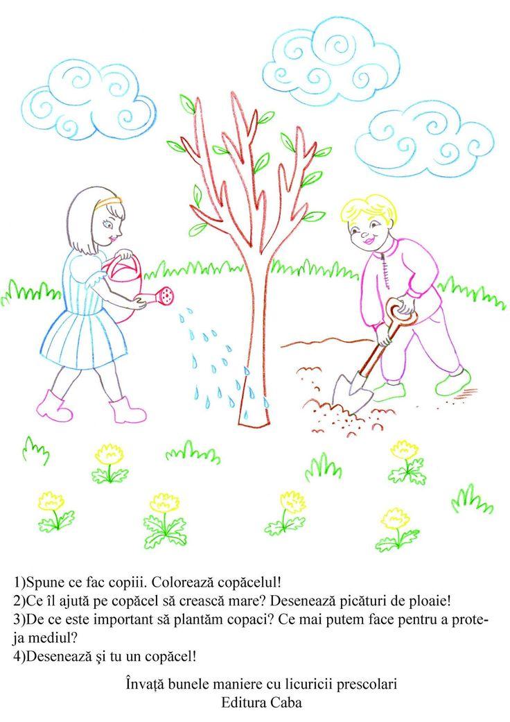 Este important sa invatam de mici sa protejam natura, asa ca va propunem o fisa de lucru extrasa din caietul 'Invata bunele maniere cu licuricii prescolari'.
