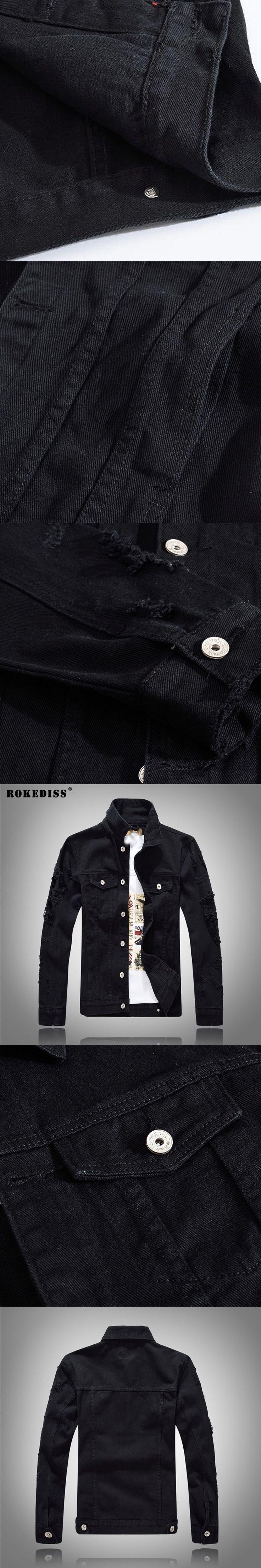 ROKEDISS 2017 New Fashion Casual Men's Denim Jacket Outwear Long Sleeve Men's Jacket Coats Slim Fit Style Holes W073