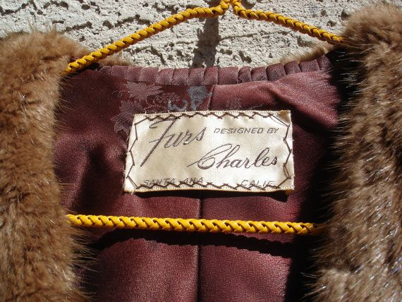 SALE-Vintage 1960's Brown Real Mink Fur Shawl by FemmeFatalFashion