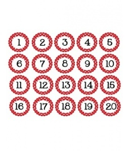 Small Circle Polka Dot Numbers Red 1-40