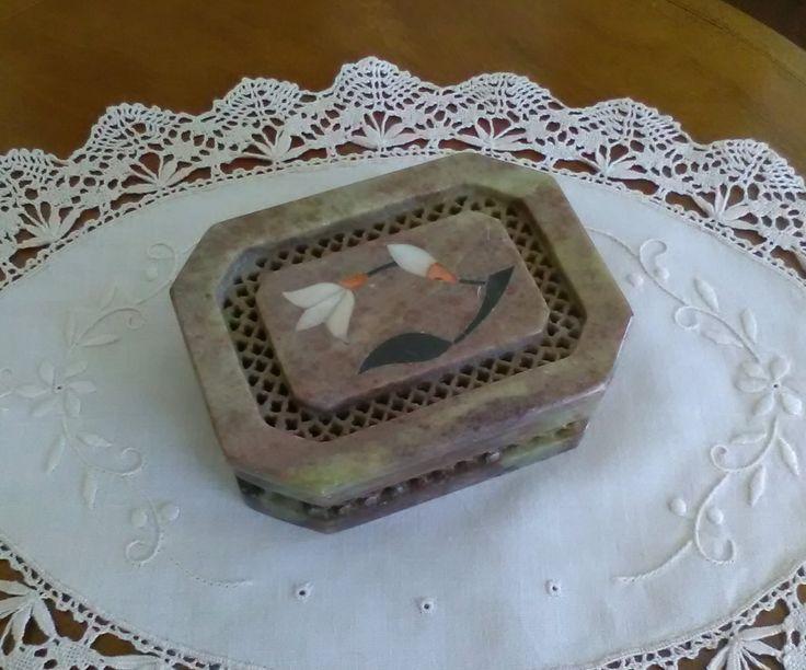 Cofanetto porta gioielli in marmo - Soprammobile Vintage - Portaoggetti in marmo - Porta gioi vintage di VintaFai su Etsy