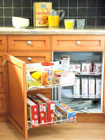 A sliding unit to use that unused space in the corner cabinet without a lazy susan