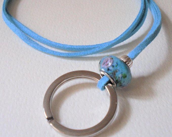 "ID Badge Key Lanyard/Turquoise ID Lanyard/Choose 24""- 34""/Key Ring/Key Lanyard/Blue Suede Key Lanyard/Spectacles Lanyard Necklace"