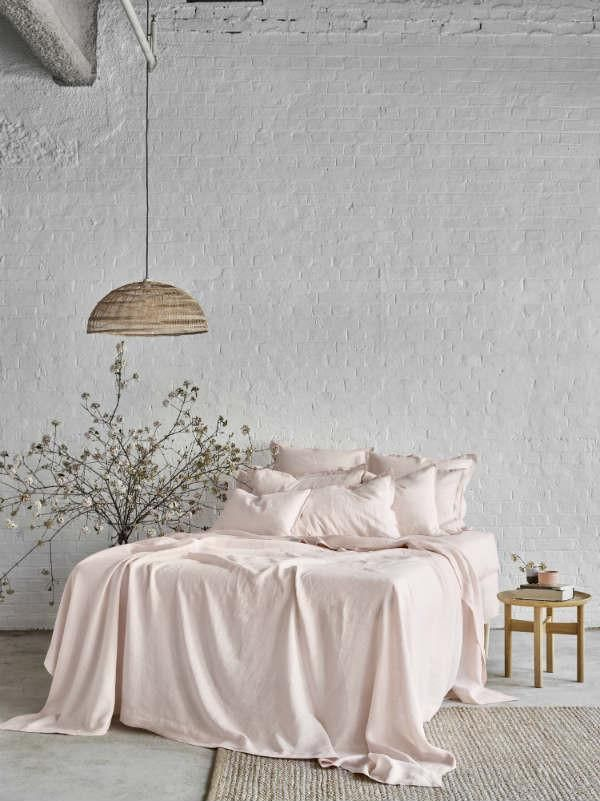 Pure Linen Fitted Bed Sheet In Peony - Sheets on the Line