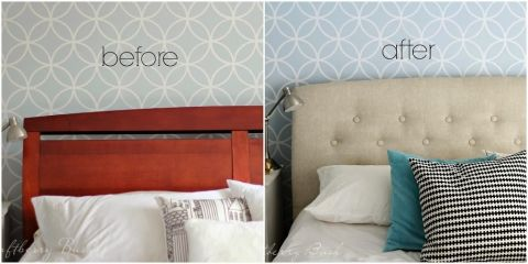 "Our ""New"" Old Headboard – How to upholster an old headboard 