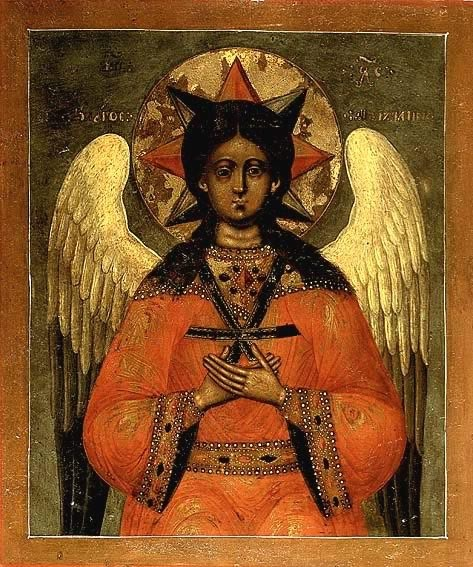 """This is an icon of Christ as the Angel of """"Hagia Hesychia,"""" or """"Holy Silence,"""" a remarkable and unusual image traditional to Orthodox Christianity and rarely found outside it."""