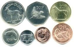 Irish coins before the Euro - there also was a half pence coin and bigger versions of the 10p and 5p - showing my age!