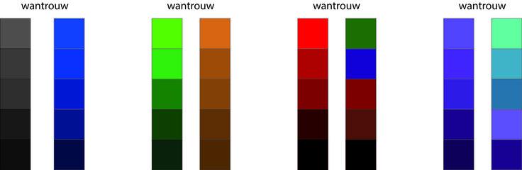 Wantrouwend: Wantrouw stralen vooral donkere kleuren uit naar mijn mening. Vooral zwart, rood, paars, groen, blauw en bruin. Maar wel de donkerste varianten. Wantrouwen staat voor niet vertrouwen dus het houdt je tegen. Donkere kleuren trekken niet zo snel aan als lichte kleuren. Daarom koos ik voor donkere kleuren.
