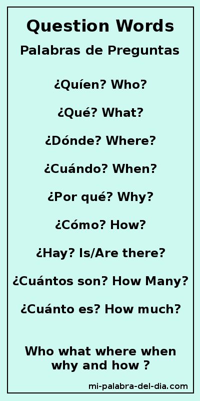 Mi Palabra Del Dia: Palabras de Preguntas Question Words Who, what, where…