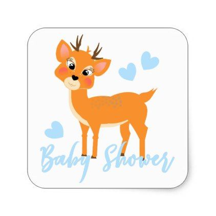 Cute Whimsy Deer Winter Baby Boy Shower Square Sticker - diy cyo customize create your own personalize
