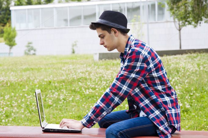man with laptop  by pruden.alvarez on @creativemarket