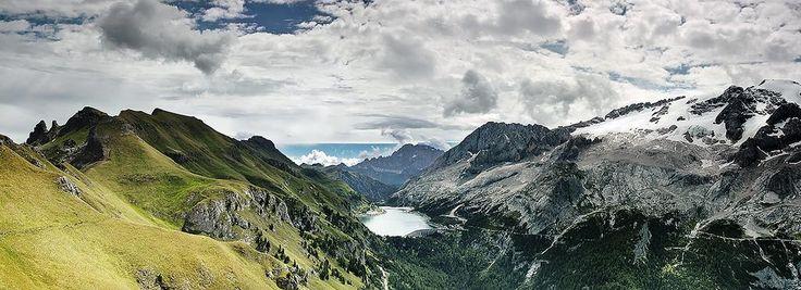 panorama Landscape Mountains Dolomites wonderful fedaia lake