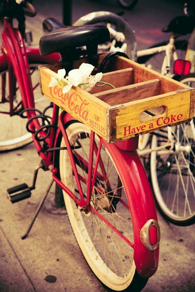 Vintage Red Bicycle and Yellow Coca Cola Crate - New York City (Inspiration for me to replace my vintage style red bike that was stolen.)