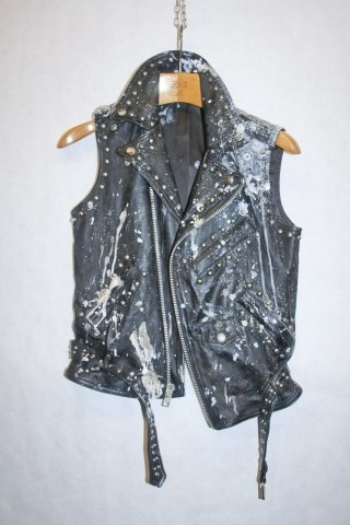 Just bag it up and let me throw my money at it. Fantastically worn BLACK MOTORCYCLE VEST.