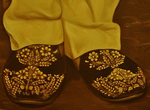 Detail of slippers from above painting