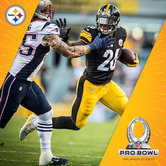 Le'Veon Bell earns his second Pro Bowl selection, while leading the AFC in scrimmage yards and ranking 2nd in rushing yards.