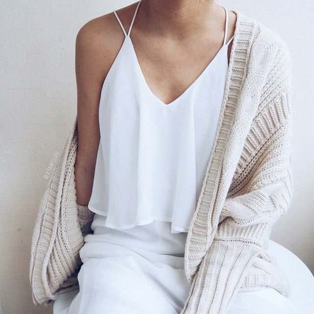 Layer a soft, dreamy sweater over your tank for a fall-ready look.