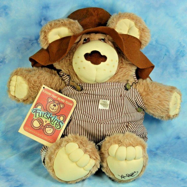 Dudley Furskin Large Plush Bear By Xavier Roberts 1985 Overalls Hat Book Bandana #XavierRobertsOriginal #DollswithClothingAccessories