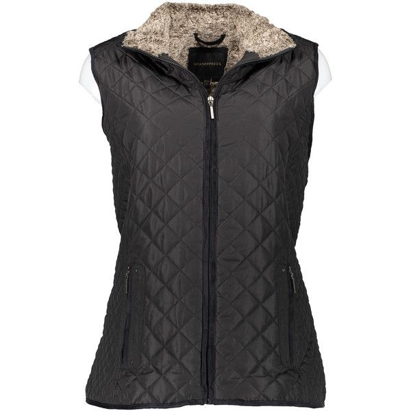 Weatherproof Black Faux Fur Quilted Vest ($35) ❤ liked on Polyvore featuring plus size women's fashion, plus size clothing, plus size outerwear, plus size vests, plus size, long waistcoat, faux fur waistcoat, plus size vest, faux fur vest and plus size long vest