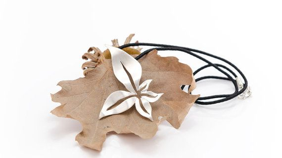 Sterling Silver Leaves Pendant, Fall Necklace, Valentine's Gift, Handmade Design, Autumn Pendant, Fall Jewelry, Gift for Her