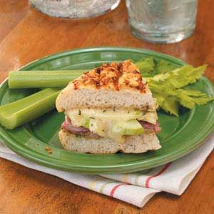 Apple 'n' Prosciutto Sandwiches Recipe -Prepared on an indoor grill, these Italian-style sandwiches are spread with homemade rosemary pesto. They're wonderful on a cool day with a bowl of butternut squash soup. —Elizabeth Bennett, Mill Creek, Washington