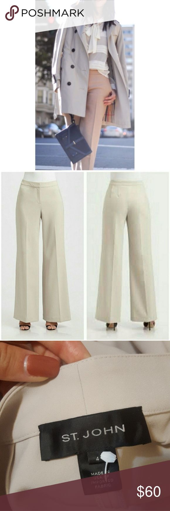 """St. JOHN Khaki High Waist Pleated Pants 4 Mint condition & freshly dry cleaned. Clean no pocket styling creates a chic smooth flowy look. Santana knit. Very light cream color  15"""" waist 18"""" hips  33"""" inseam St. John Pants"""