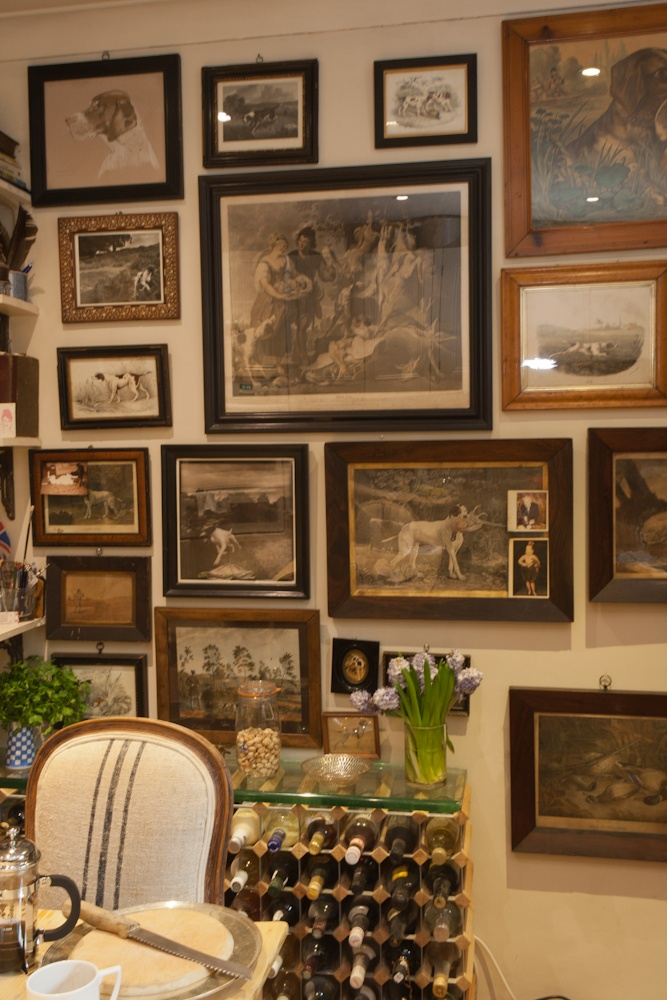 18th And 19th Century Prints Of Pointers Cover A Wall In
