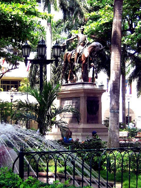 Plaza de Bolivar an oasis in the middle of a walled city, Cartagena Colombia