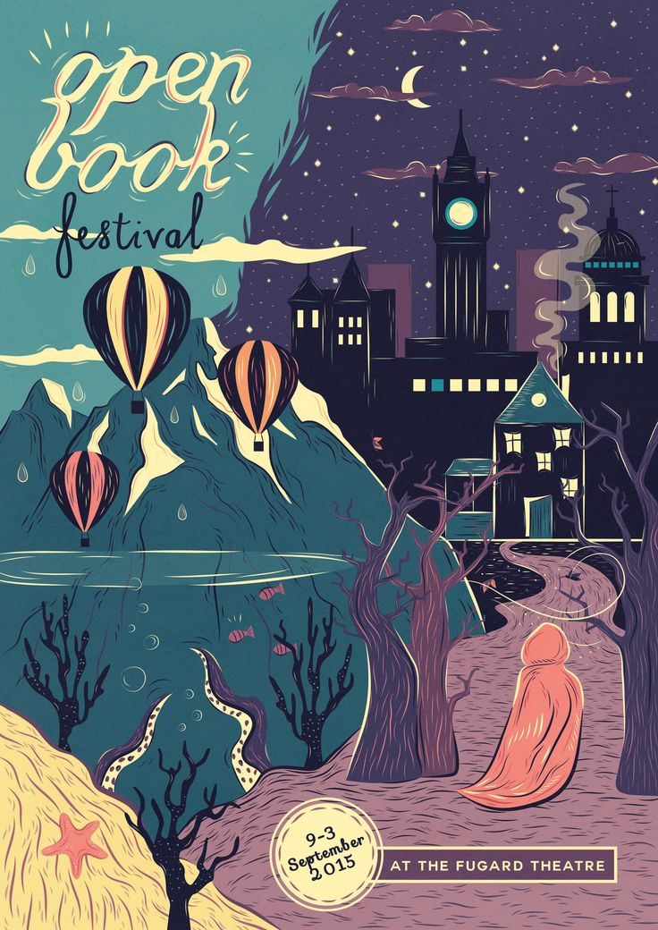 Student project- #Poster #design for #Openbookfair  #Illustration #Openbookfestival #CapeTown #Stories #hotairballoon #Underthesea #mystery #Studentwork