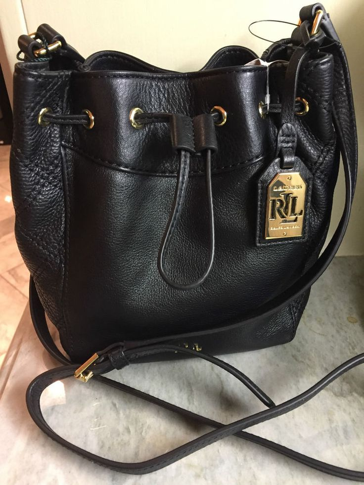 Ralph Lauren Grafton Cara Mini Drawstring Black Leather Handbag NWT $198 #RalphLauren #DrawstringBucket
