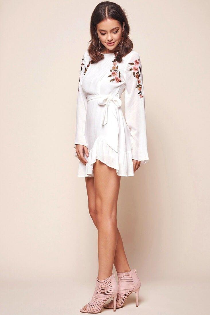 07e3663faf Shop the Yara Floral Embellished Fit and Flare Dress White