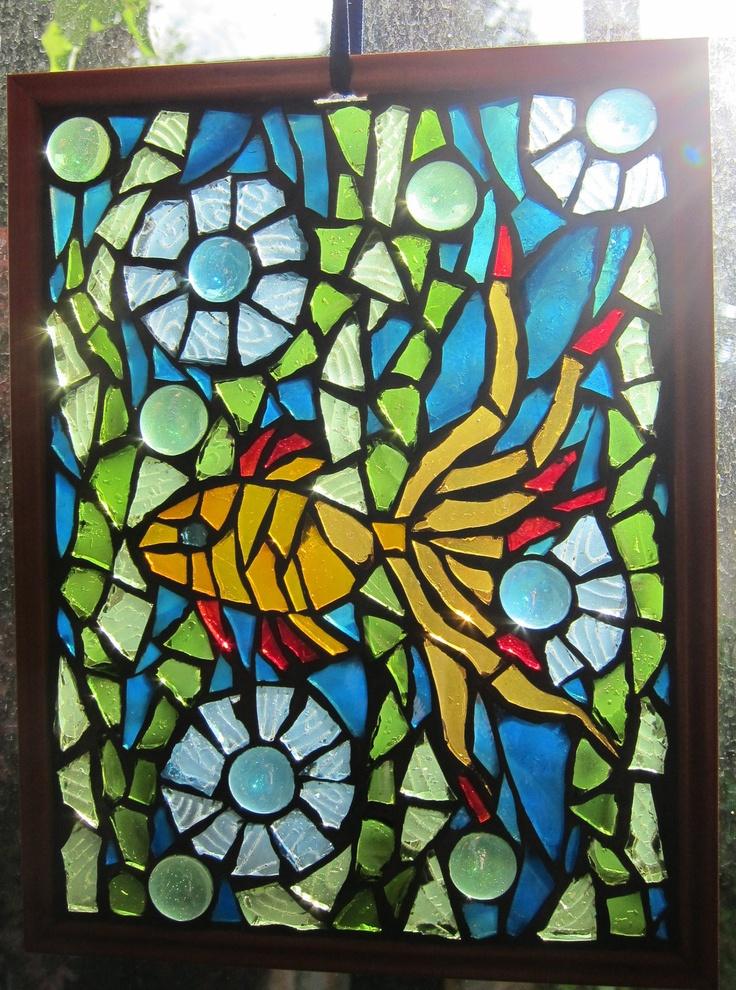 Goldfish, Mosaic Window art. $115.00, via Etsy.