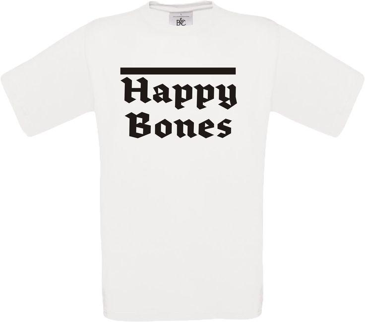 """Das """"Happy Bones"""" T-Shirt in der Farbe Weiß gibt es bei MPS Markenpreissturz.de. Wir bedrucken oder besticken individuelle Klein-oder Grossauflagen.  #print #druck #bedrucken #fashion #style #mps"""