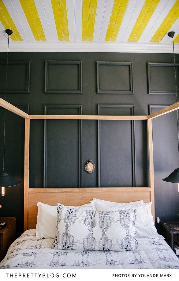 Bedroom   Four poster   striped ceiling Yellow   Apartment   Cape Town   Interior   Etienne Hanekom Interiors
