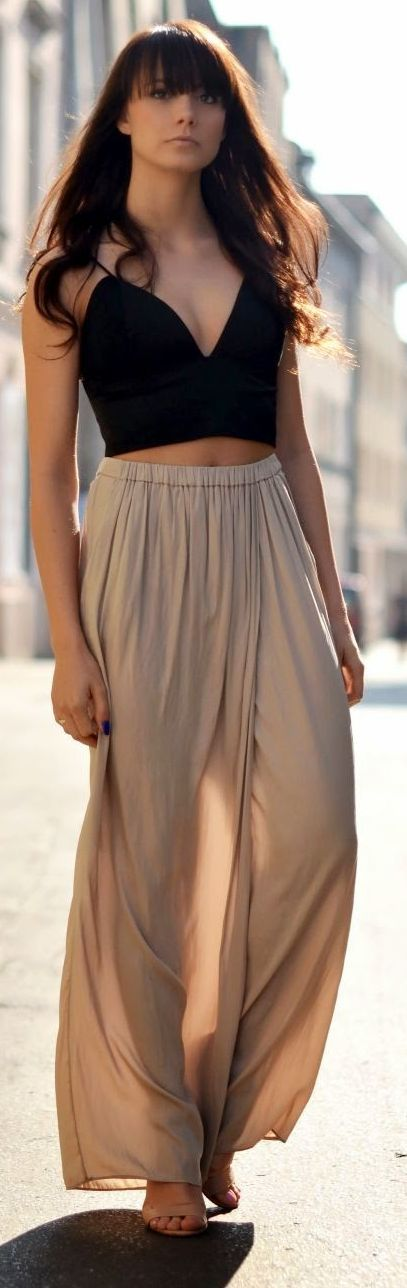 I like to show a little and keep it classy. This is the outfit for that. Zara Camel Pleated Waistline Chiffon Harem Pants