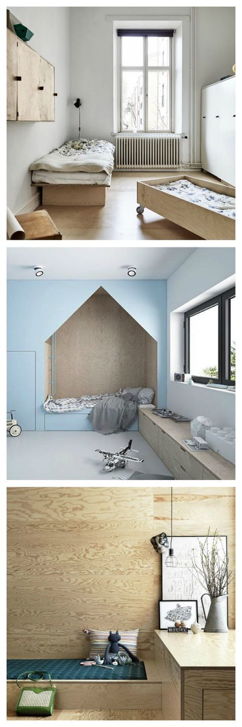 There are lots of different ways to introduce plywood into a kids room from plywood walls to plywood furniture and accents.
