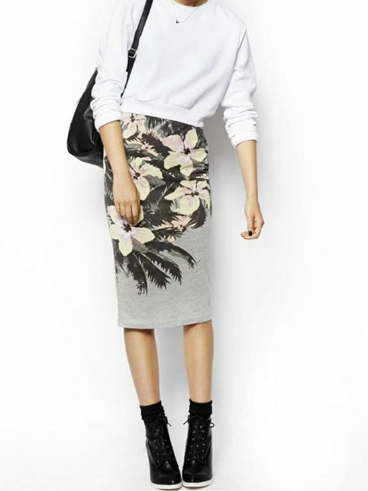 Gray Floral Slit High-Elastic Pencil Skirt - Choies.com