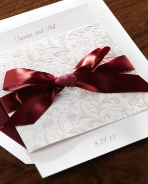Modern Style Birchcraft Wedding Invitations With Carving And Red Webbing Cute You Design Ideas