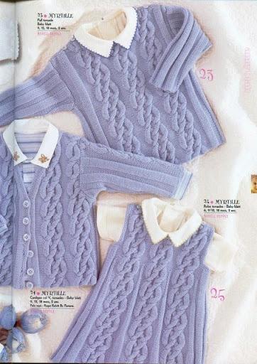 "Cardigan, Dress and Sweater Set ""Myrtille"" « Knits4Kids free knit pattern"