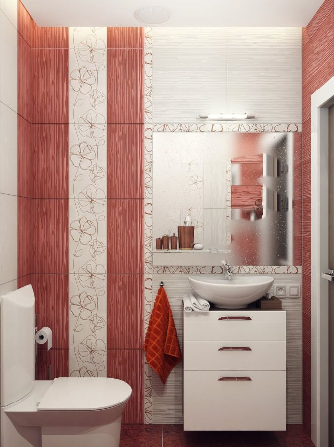 Bathroom White Floating Small Vanity With Drawers Toilet Seat Wall Light  Patterned Wall Red White. Small Toilet And Bathroom Design