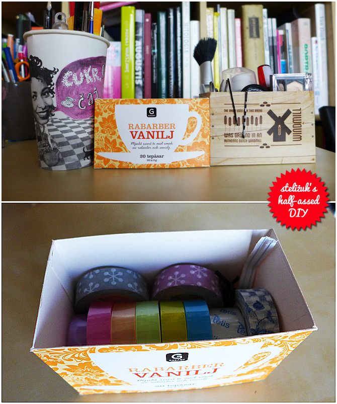 recycled: Paneria coffee cup, Garant tea box, KLM sandwich box.