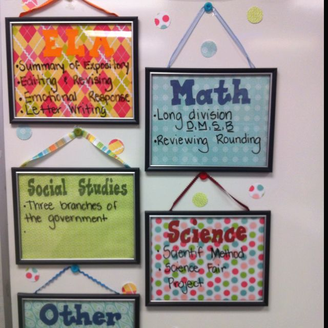 Certificate frames from the dollar store, scrapbook paper, and ribbons.  Cute new learning objectives board.