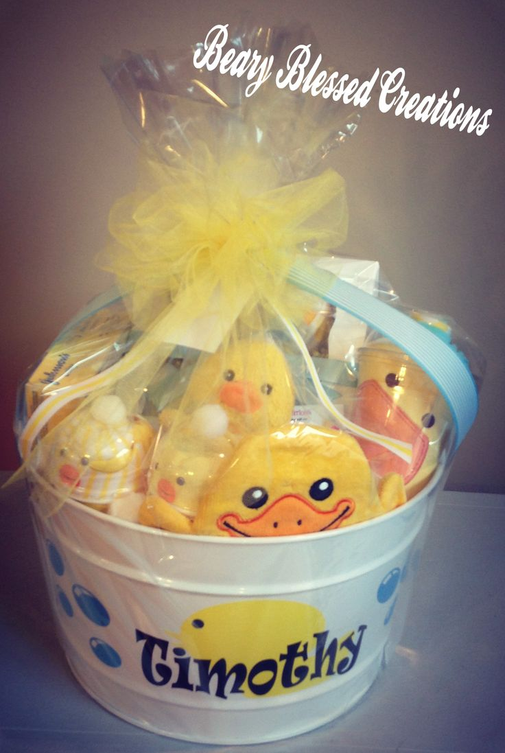 Rubber Ducky Baby Gift, Rubber Ducky Bath and Bedtime Baby Gift Bucket, Baby…